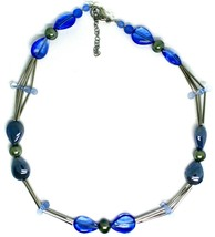 "NECKLACE TUBE AND BLUE DROPS SPHERES PETALS MURANO GLASS, 50cm 20"" ITALY MADE image 2"