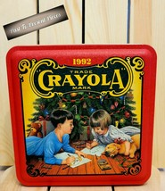 Vintage 1992 Crayola Crayons Holiday Collectible Tin Box Empty FREE Shipping - $24.19