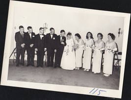 Antique Photograph Wedding Bride & Groom With Wedding Party All Lined Up... - $6.93