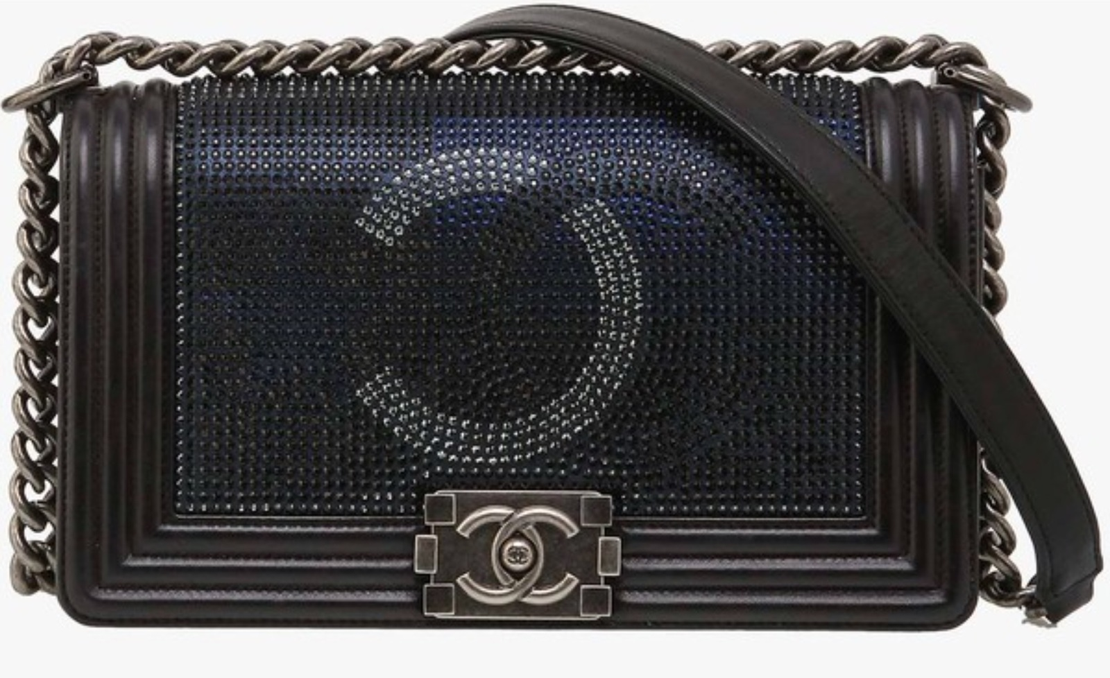 AUTH CHANEL LIMITED EDITION MIDNIGHT BLUE CRYSTAL LAMBSKIN MEDIUM ... 9d048c6a37925