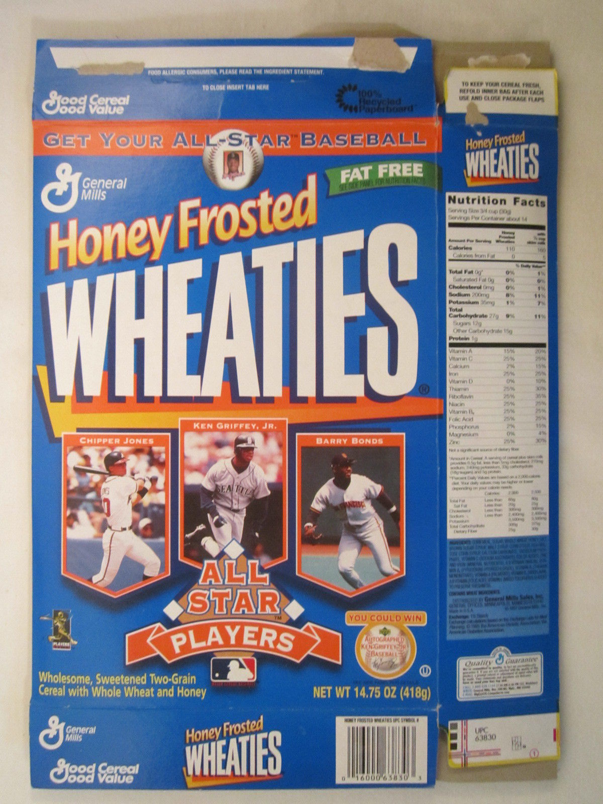 Primary image for Empty WHEATIES Box 1998 14.75oz ALL STAR PLAYERS Jones Griffey Bonds [Z202h2]