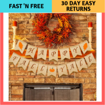 Whaline Thanksgiving Day Autumn Happy Fall Yall Pumpkin Burlap Banner Ha... - £10.58 GBP