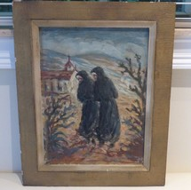 ANTIQUE FRAMED OIL PAINTING ON BOARD MONKS SCENE ARTIST SIGNED, 1954 - $599.00
