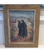 ANTIQUE FRAMED OIL PAINTING ON BOARD MONKS SCENE ARTIST SIGNED, 1954 - $599.00