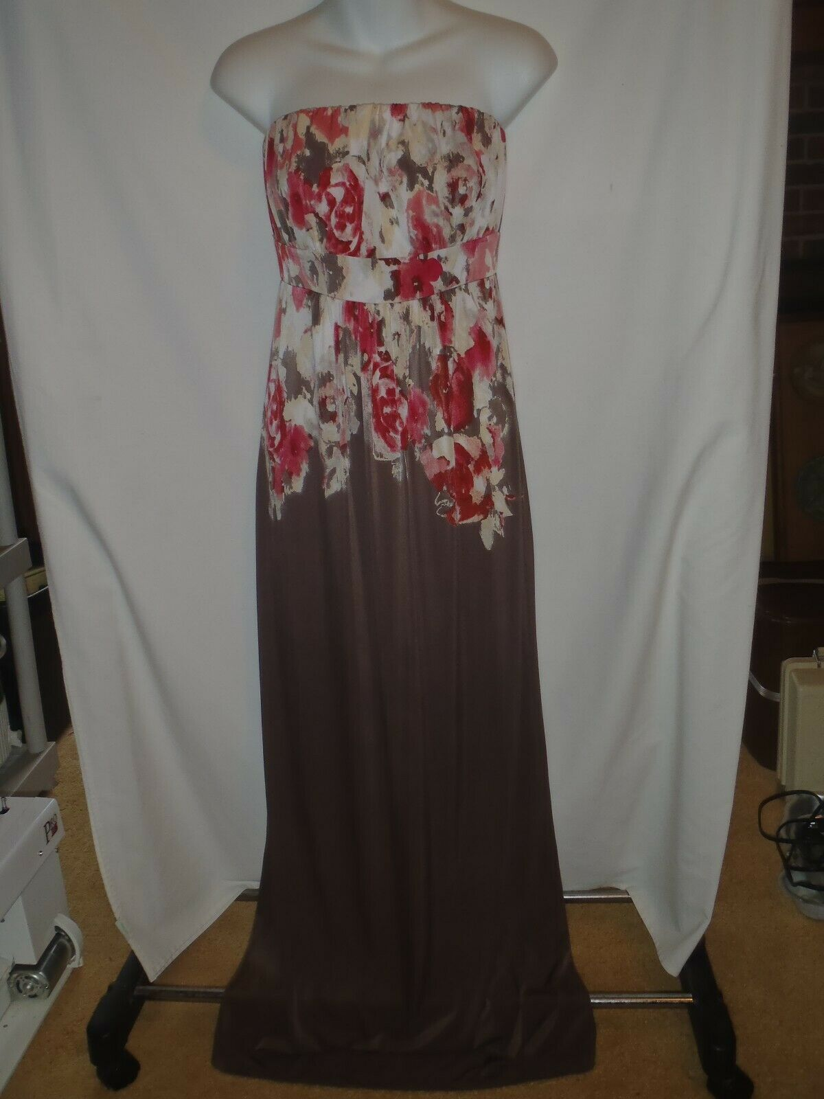 Soma Intimates Maxi Dress XS Strapless Brown Coral Rose Floral Womens - $23.12