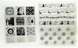2 Christmas Stamp Sets, Borders, Snowflakes, Square Images