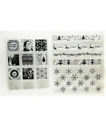 2 Christmas Stamp Sets, Borders, Snowflakes, Square Images - $12.55