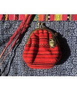 Red Coin Purse with Owl from cotton fabric, Soft Vintage Pouch for Lipstick - $15.99