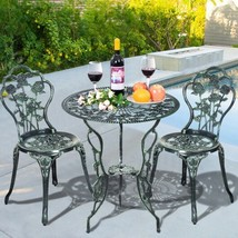 Outdoor Cast Aluminum Patio Furniture Set with Rose Design - Color: Green - $239.42