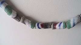 "45 African Sand Cast Glass Trade 1/2"" Long Beads - Green White Blue Red ... - $7.97"