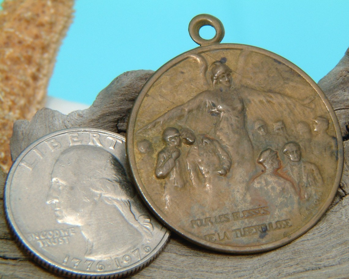 Rene Lalique 1917 Medallion Brass Tuberculosis France WWI