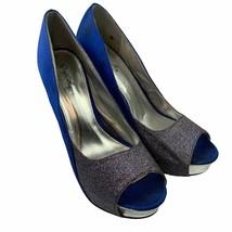 Qupid 10 US Women Heels Stiletto Shoes Blue Open Toe Slip On - $22.25