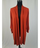 Susan Graver women 3X orange liquid knit long sleeve open front cardigan - $32.67