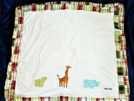 Vintage Baby Gap Madras Plaid Patchwork Boy Blanket Rhino Hippo Giraffe Animals - $98.99