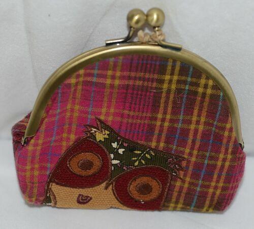 Karma Brand KA100576 Burgundy Plaid Pattern Owl Lock Coin Purse With Card Slots