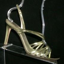 Anne Klein New York green metallic leather buckle slingback sandal heels 9.5M - $37.04