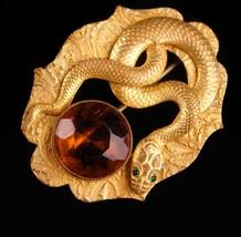 Exotic antique Snake brooch - serpent sash pin - Vintage Figural Cleopat... - $225.00