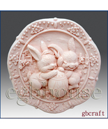 2D Silicone Soap Mold – Sunnyside Bunnies & Egg - $26.00