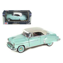 1950 Chevrolet Bel Air Green with Cream Top 1/24 Diecast Model Car by Motorma... - $35.23