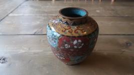 """Antique Chinese 4.25"""" Cloisonne Copper Vase - $207.89"""