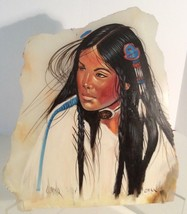 Native American Indian Original Painting On Marble Signed O.Mar 14 x 12 - $39.74