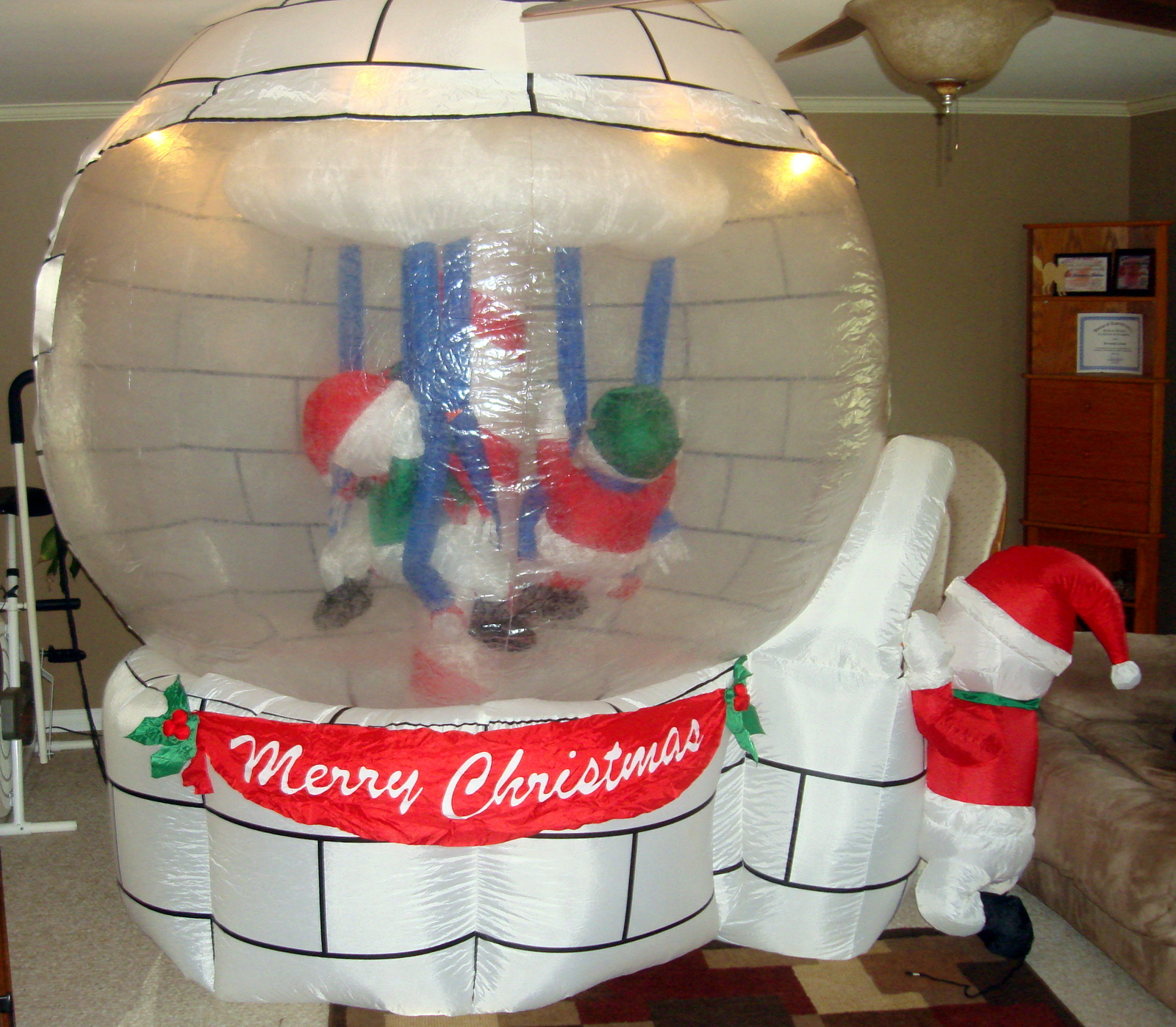 Gemmy airblown inflatable 8ft snow globe carosel holiday for Air blown decoration