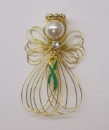 Green Awareness Ribbon Angel Ornament Goldtone ... - $8.00