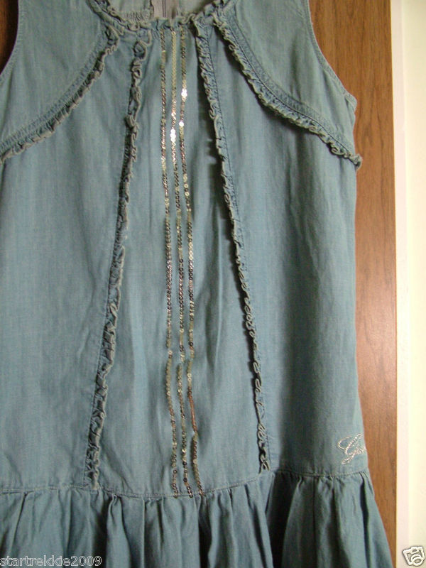 Guess Big Girls Sleeveless, Ruffled Light Denim Dress,Size XL. NWT