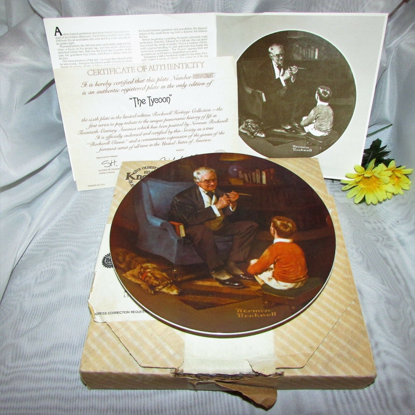 NORMAN ROCKWELL THE TYCOON COLLECTOR PLATE KNOWLES LIMITED EDITION 8 3/4""