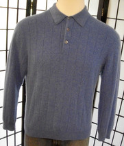 Tasso Elba men's blue cashmere polo sweater large l - $752,07 MXN