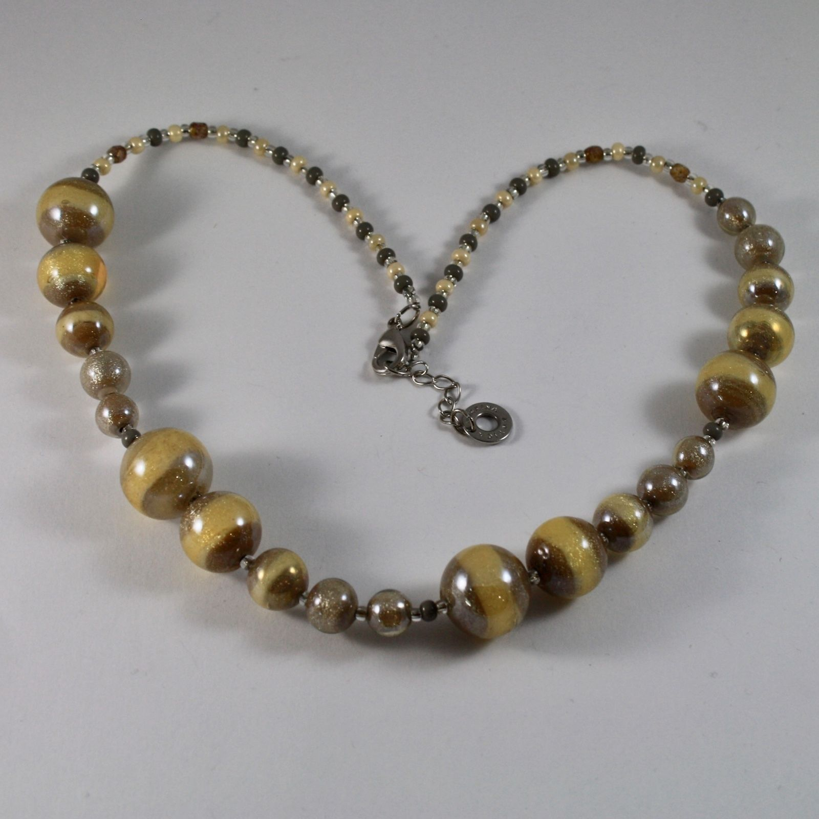 NECKLACE ANTICA MURRINA VENEZIA MURANO GLASS SPHERES YELLOW BROWN, 45 CM