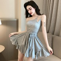 Solid color sexy off-the-shoulder personality unilateral sling skater dress image 7
