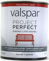 Valspar 32 Oz Project Perfect 60075 Cherry Gloss Interior Exterior Latex... - $21.99
