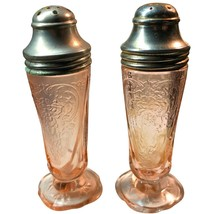 Hazel Atlas Royal Lace Vintage Antique pink depression glass salt pepper shakers - $79.97