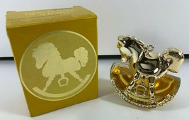 Vintage 1979 Avon ROCKING HORSE SWEET HONESTY Goldtone Tree Ornament  - $14.84