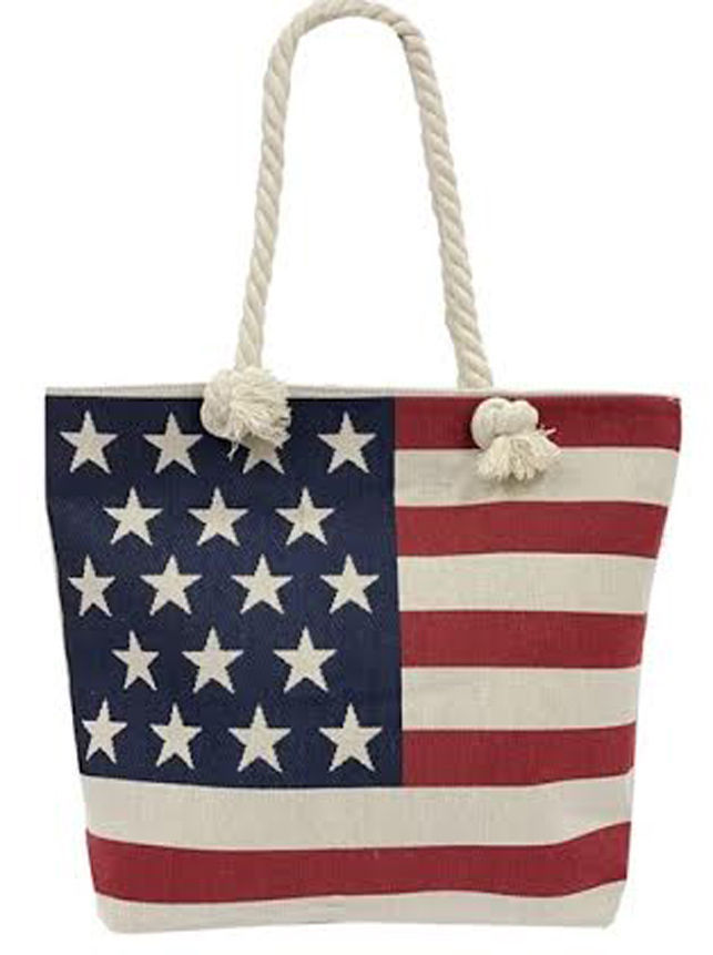 Large America Flag Designed Woven Handles Jute TOTE Bag - July 4th