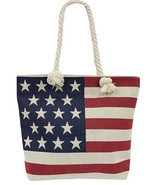Large America Flag Designed Woven Handles Jute TOTE Bag - July 4th - $10.88