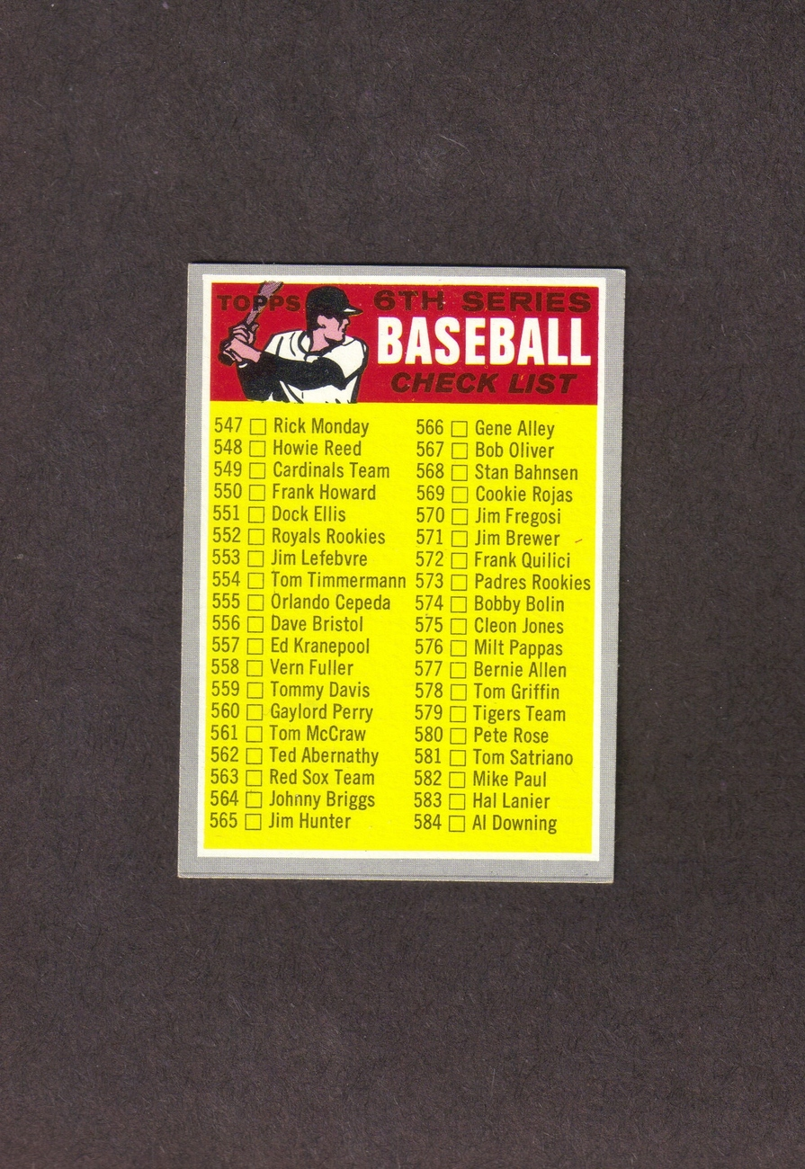 1970 Topps # 542 Checklist 6th Series Unmarked