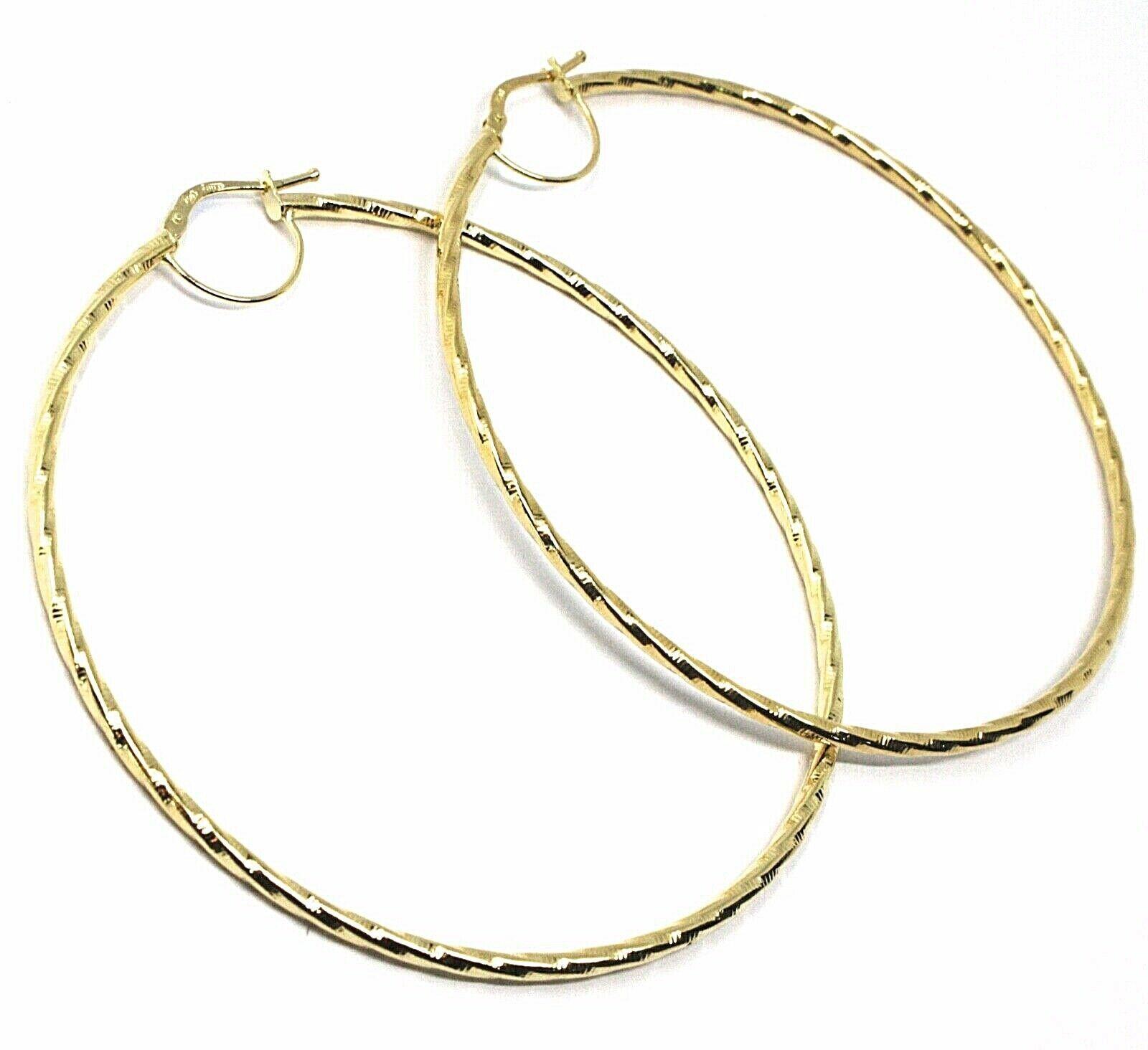 18K YELLOW GOLD BIG CIRCLE HOOPS DIAMETER 65mm EARRINGS TUBE 2mm BRAIDED STRIPED