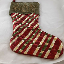 Satin Ribbons Christmas Stocking with Bead embroidery Crepe satin back L... - $25.73