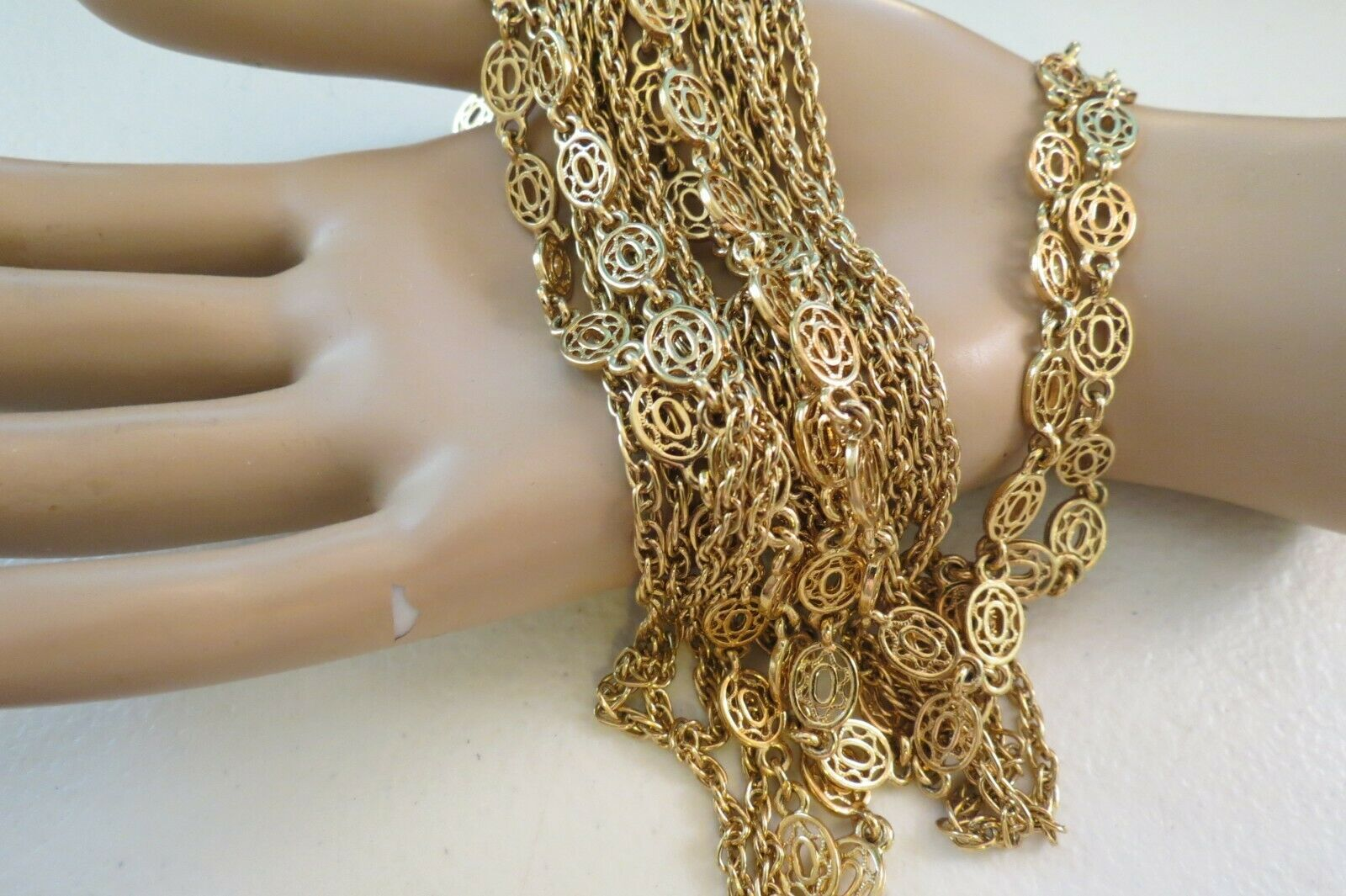 """Monet Necklace Multi Chain Long 51"""" Designer Gold Plated Oval Links NICE Cond image 2"""