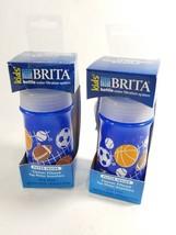 2 Brand New Brita Kids Water Bottle Soft Squeeze Blue 13 oz. Filter Inside - $7.79