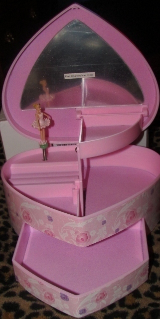 Musical Ballet Jewelry Box Twirling Ballerina Pink Mirror Drawer Heart Shaped