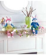 Shelf Sitter Easter Bunnies with Lighted Garland Boy Girl Easter Eggs Ma... - $32.99
