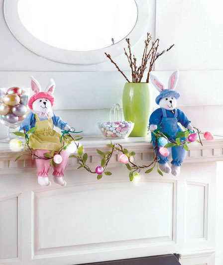 Shelf Sitter Easter Bunnies with Lighted Garland Boy Girl Easter Eggs Mantel NEW