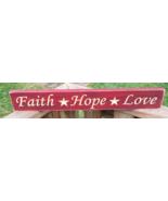 Primitive Wood Engraved Sign  1708 Faith Hope Love    - $12.95