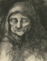 Mid 20th Century Charcoal Drawing - Portrait of an Older Woman with Head... - $54.05