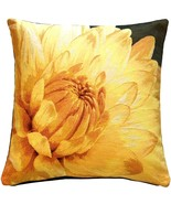 Pillow Decor - Yellow Dahlia Bold Blossom Tapestry Throw Pillow - $79.95