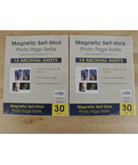Lot of 2 Magnetic Self-Stick Photo Page Refills 15 sheets each New - $19.79
