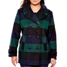 St. John's Bay Wool-Blend Pea Coat Plus Size 1X Msrp $225.00 New - $59.99